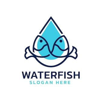 Fischlogo mit wassertropfenform