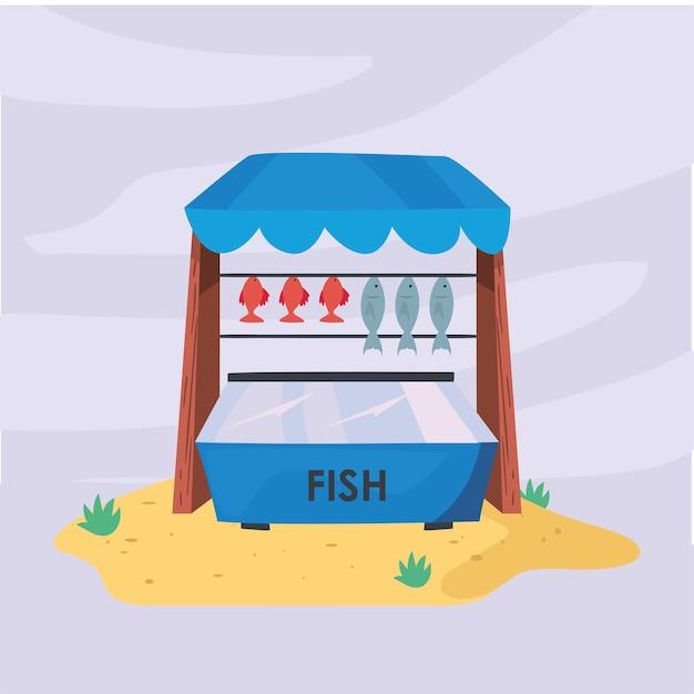 Fischmarkt am stranddesign der ladeneinzelhandelsillustration