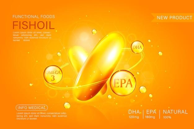 Fischöl-promo-vorlage, omega-3-kapsel isoliert auf chromgelbem hintergrund. 3d-illustration.