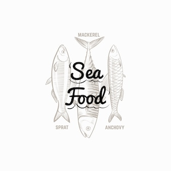 Fischprodukte unterschreiben mit handgezeichneter fischmakrele, sprotte, sardelle