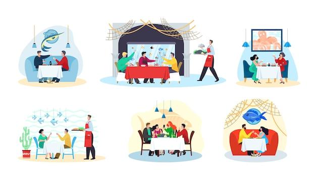 Fischrestaurant und meeresfrüchte, menschen essen am tisch, fischgerichte, party