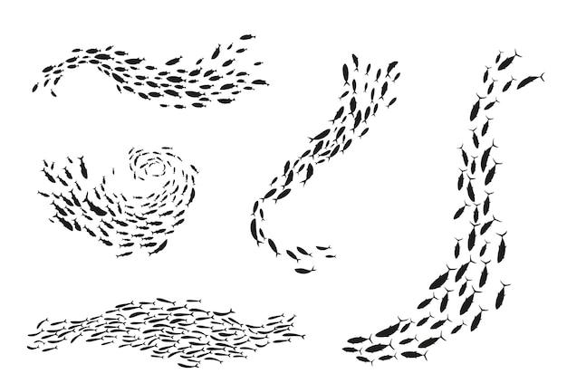 Fischschwarm silhouette unterwasserströmung marine ökosystem. gruppe von thunfisch oder kabeljau, die in wirbel- oder kurvenspiralen-cluster schwimmen, meeresfrüchte-schwarm-vektor-illustration isoliert auf weißem hintergrund