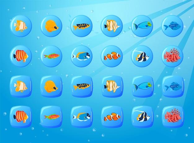 Fischspiel ozean unterwasserzelle runde grafik-app-oberfläche