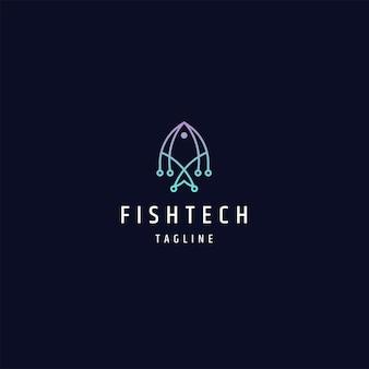 Fischtechnologie-logo-icon-design-vorlage flacher vektor