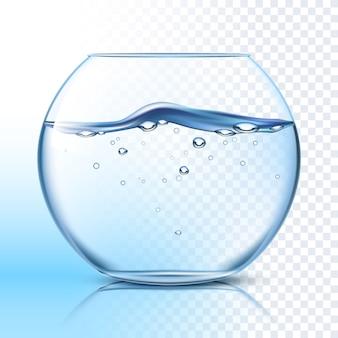 Fishbowl mit wasser-flachem piktogramm