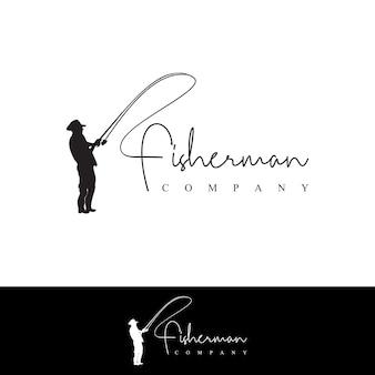 Fisherman logo angeln mit rute und angelschnur
