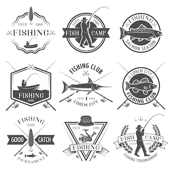 Fishing club black emblems set