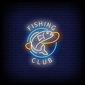 Fishing club neonschilder style text