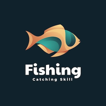 Fishing gradient bunte stil logo-vorlage