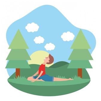 Fit Mann praktizieren Yoga