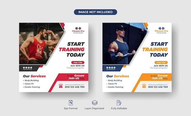 Fitnes gym club quadratisches flyer-vorlagendesign oder social-media-beitrag premium-vektor
