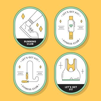 Fitness-abzeichen-elemente-set Kostenlosen Vektoren