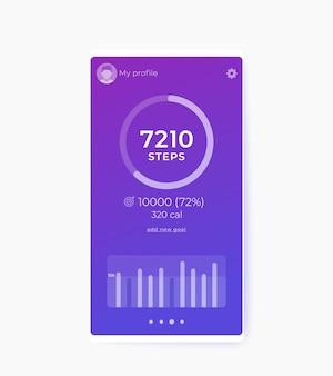 Fitness-app, aktivitäts-tracker und schrittzähler-benutzeroberfläche, design der mobilen benutzeroberfläche