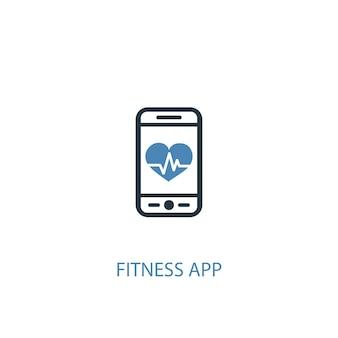 Fitness-app-konzept 2 farbiges symbol. einfache blaue elementillustration. fitness-app-konzept-symbol-design. kann für web- und mobile ui/ux verwendet werden