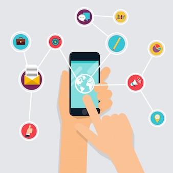 Fitness-app-konzept auf touchscreen. handy und tracker am handgelenk. icons für das web: fitness, gesundes essen und metriken. flacher stil.