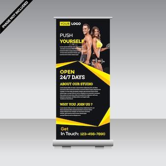 Fitness banner aufrollen