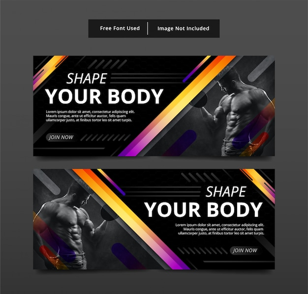 Fitness banner vorlage design.