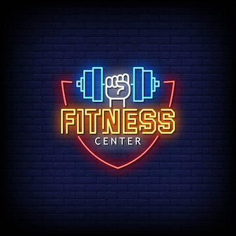 Fitness center neon signs style text