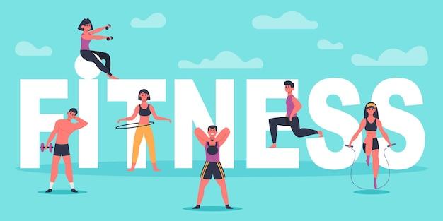 Fitness-charaktere. junge leute, die nahe große fitnessbuchstaben trainieren, mann und frau trainieren, sporttrainingskonzeptillustration. fitness workout aktiv, gesunde sporthalle, körperübungen