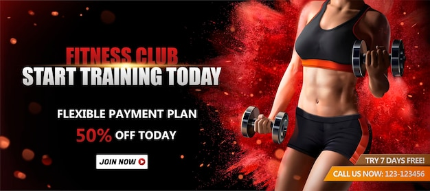 Fitness-club-banner mit einer gesunden frau, die gewichte auf roter explodierender pulvereffektoberfläche, 3d illustration anhebt