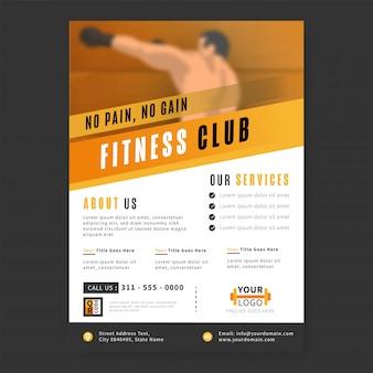 Fitness club flyer oder vorlage mit fitness services