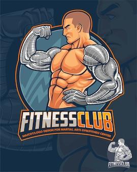 Fitness club maskottchen und logo