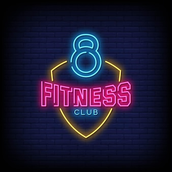 Fitness club neon zeichen stil text