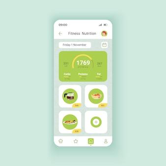 Fitness ernährung dunkle smartphone-schnittstelle vektor-vorlage. design-layout für mobile apps. manager für gesunde ernährung. bildschirm des täglichen mahlzeitenprogramms. flache benutzeroberfläche für die anwendung. telefondisplay
