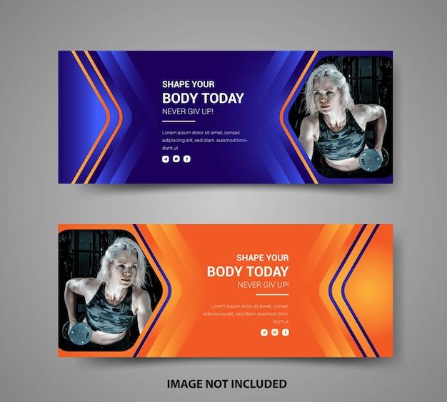 Fitness facebook cover social media post banner