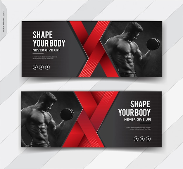 Fitness facebook cover social media post banner