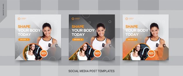 Fitness, fitnessstudio social media post design