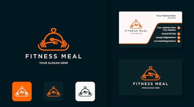 Fitness-food-menü-logo-design mit linienstil und visitenkarte
