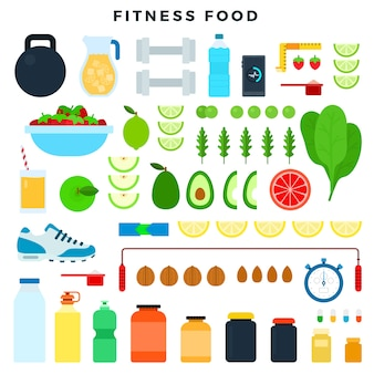 Fitness-food und sportgeräte, um fit zu bleiben