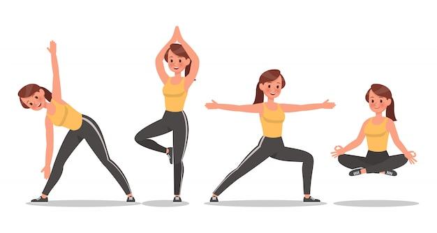 Fitness-frau, die yoga-zeichensatz tut