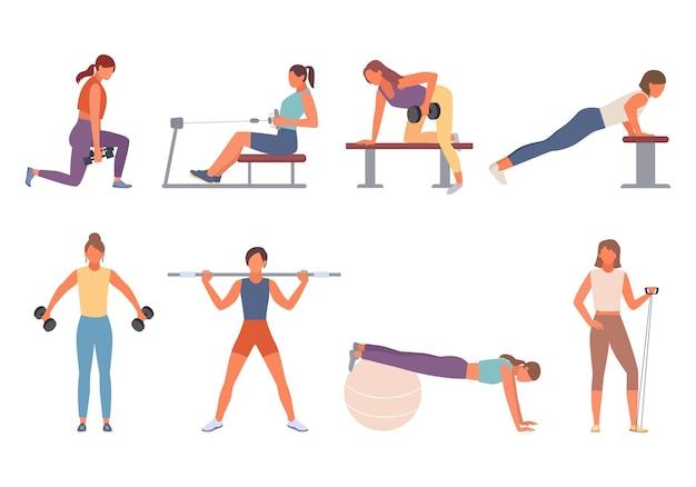 Fitness-frau im fitness-set.