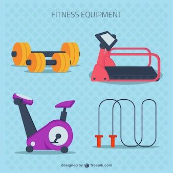 Fitness-geräte in flachen stil