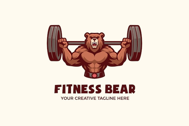 Fitness gesunder sport maskottchen charakter logo vorlage
