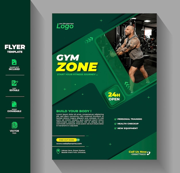 Fitness gym flyer flyer vorlage