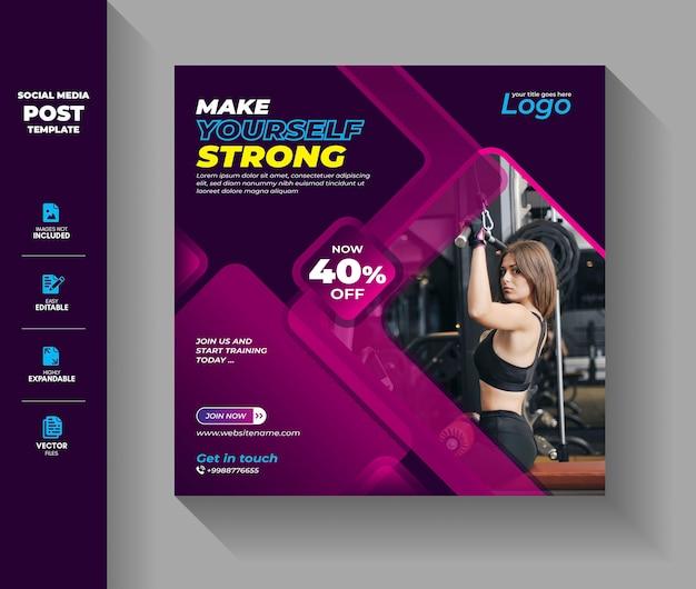 Fitness gym social media post vorlage