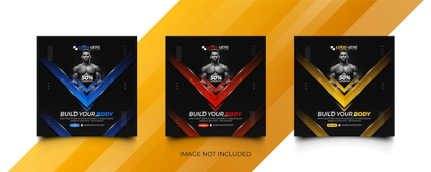 Fitness gym social media promotion post bannertemplate set