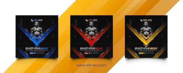 Fitness gym social media promotion post bannertemplate set