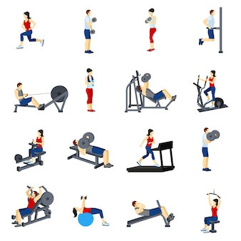 Fitness gym training icons set