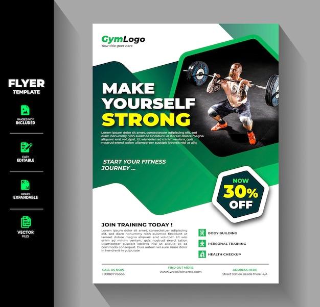Fitness gym übung workout training flyer broschüre vorlage