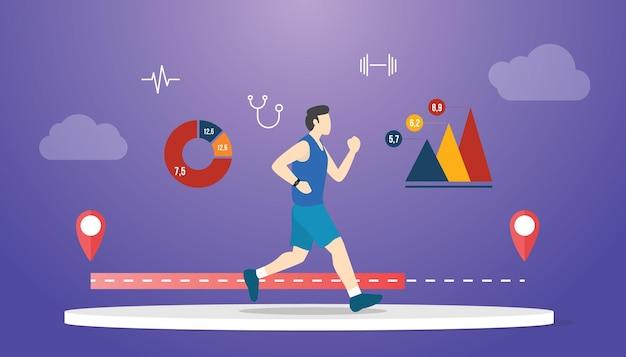 Fitness-herausforderungskonzept mit mann, der mit einem statistikdaten-tracker mit moderner flacher vektorillustration läuft