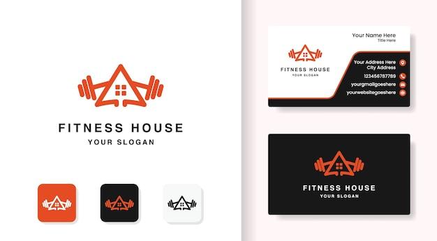 Fitness-home-logo-design mit linienstil und visitenkartendesign