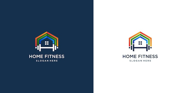 Fitness-home-logo-kollektion mit farbverlaufsdesign