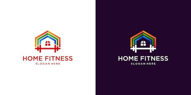 Fitness-home-logo mit farbverlauf-design