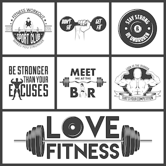 Fitness-ikonen-vektorsatz.