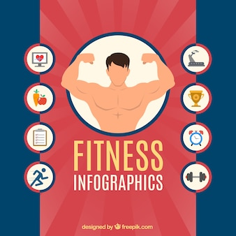 Fitness infographie mit icons