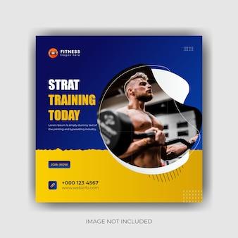 Fitness instagram social media post banner design premium vector